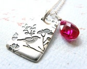 50 PERCENT OFF SALE  Cherry Blossoms - Fuschia Cubic Zirconia and Sterling Silver Charm Necklace