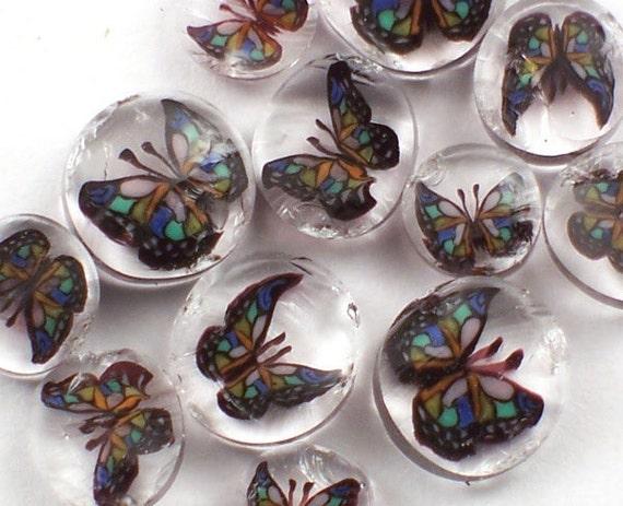 Handmade Murrine Rainbow Butterfly 104 COE  slices 10