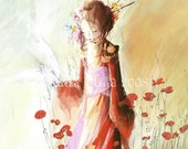 The Dove Girl A3 Giclee Fine Art Print