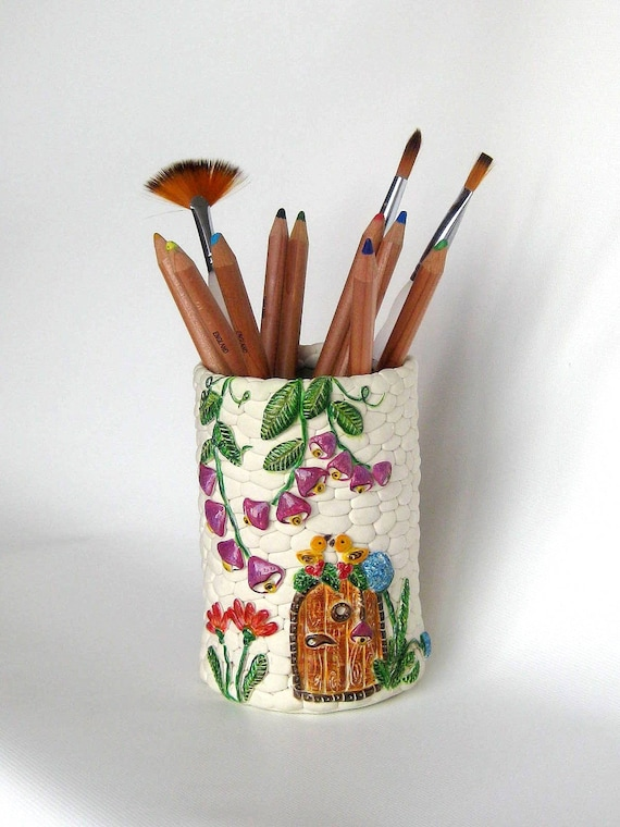 White Princess Tower Castle Cup Holder ORGANIZER for ART brushes,pens or pencils,handmade from polymer clay