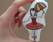 Fabric Brooch/ Pin Badge - Circus Lady