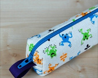 Leaping Frogs Bitty Bag (petite pencil or makeup case)