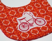 Retro Bike Bib Red and Orange Geometric Modern Baby Bib
