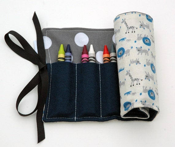 Blue and Gray Lion and Giraffe Crayon Roll