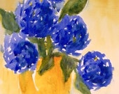 Blue Hydrangeas in Gold Reproduction Watercolor Cobalt