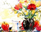 Natural Reds - 8 1/2 x 11 Print of watercolor painting still life red black