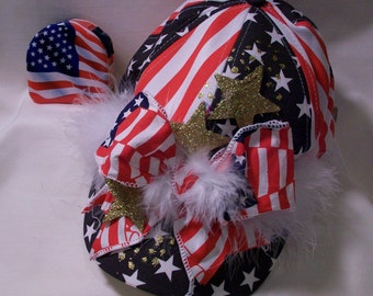 SALE Flag Baseball Cap with Feathers, Ribbons and Gold Stars