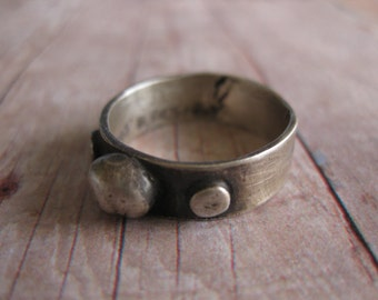 UNISEX No.1 - Handmade Solid 999 Fine Silver Oxidized Unisex Mens Ring Handmade with PMC Size 8.5 Unisex
