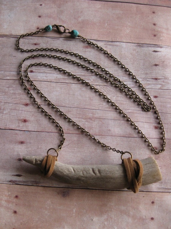 OH DEER - Deer Antler tip wrapped in natural tan suede on natural brass chain and Turquoise stones UNISEX necklace Native Vogue
