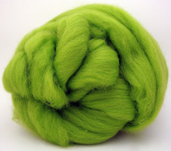 4 oz Corriedale Wool Top - Lime - Ships Free