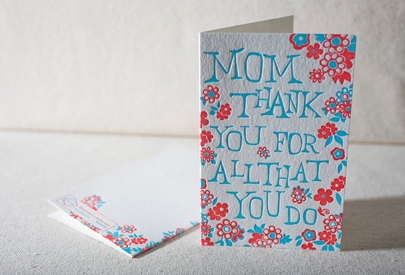 Mother's Day Flower Burst - Letterpress Greeting Card - Bamboo paper. C4H16T