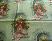 "SALE :) green vintage cotton barkcloth ""seville"" print -- 35 wide by 2 yards"