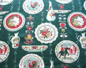 colonial novelty print vintage barkcloth fabric panel in red, sage, yellow and green