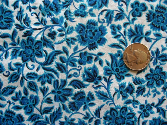 Vintage Turquoise Blue And Black Floral Print Fabric 36