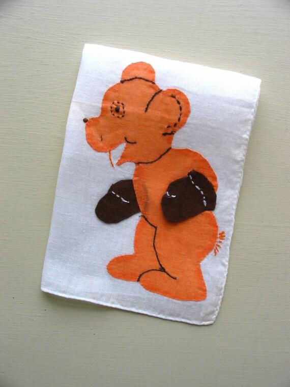 SALE :) vintage applique teddy bear childs hanky/hankie