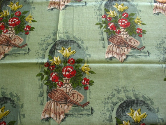"SALE :) green vintage cotton barkcloth ""seville"" print -- 35 wide by 2 yards"