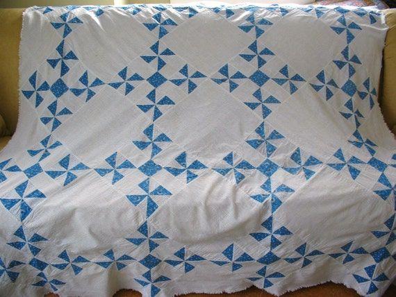 blue, white and black vintage shirting patchwork quilt top