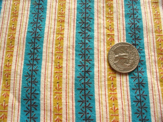 tan and turquoise striped full vintage feedsack fabric
