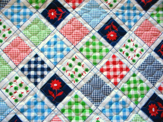 red, green, navy and white cheater quilt vintage quilted cotton fabric piece
