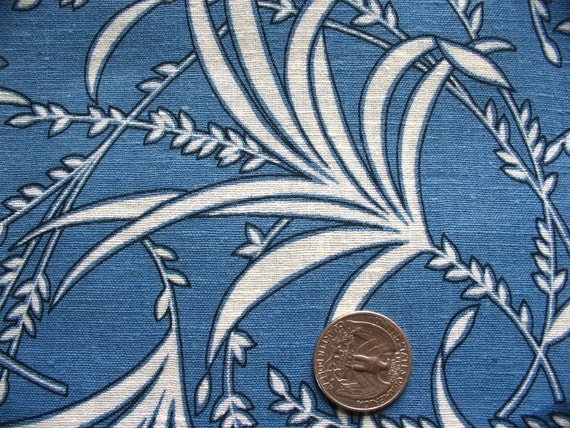 ecru on blue tropical print vintage linen fabric -- 35 wide by 4 yards