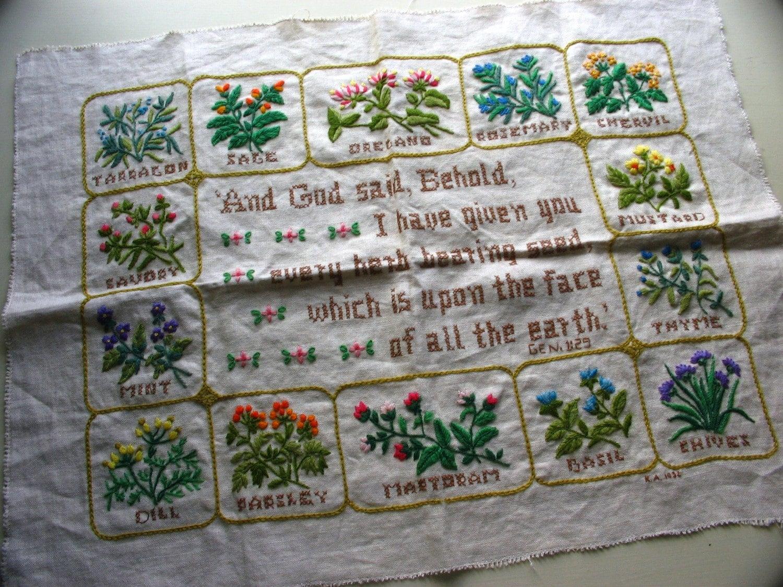 Vintage crewel embroidery herb sampler