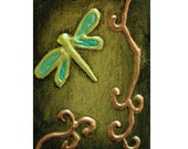 RESERVED for harvestorm  Original PAINTING Dragonfly 3D Asian Zen Gold Abstract Mixed Media Art MINI ACEO Bounty