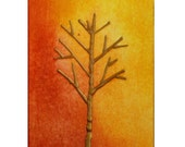 RESERVED for harvestorm Original Tree Painting Zen 3D Abstract Fall Mixed Media Art Mini ACEO Bounty