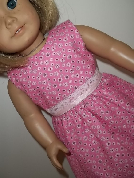 NEW - Pink Dress with Tiny White Flowers / Doll Clothes fits American Girl doll