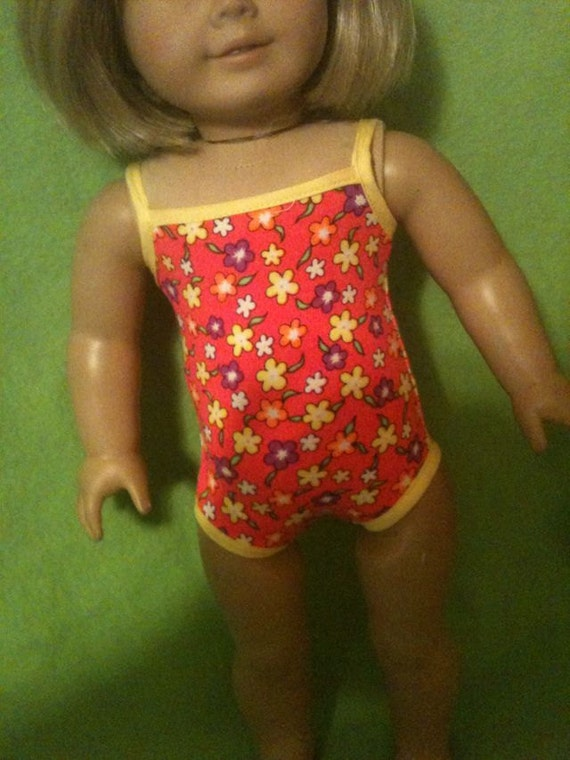 Pink Floral bathing / swimsuit / doll clothes fits American Girl Doll