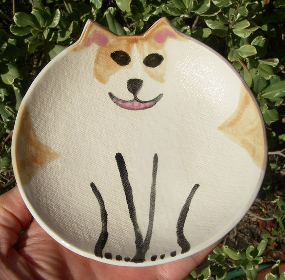 Pottery dog plate: Jack Russell Terrier round clay collectible pet dish