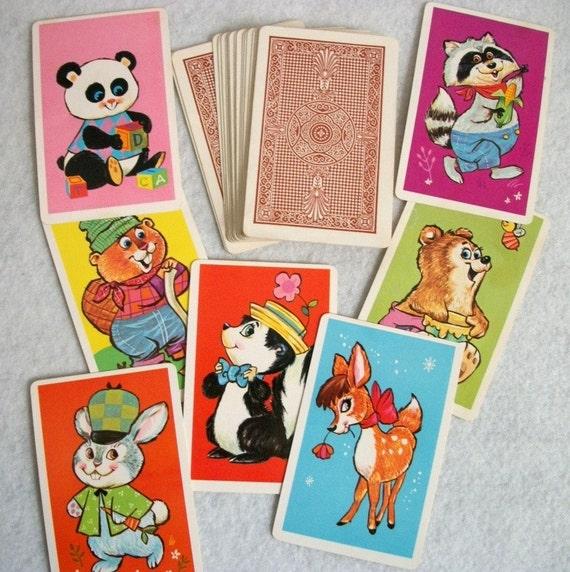Vintage 60's WHITMAN Animal Rummy Cards Ephemera