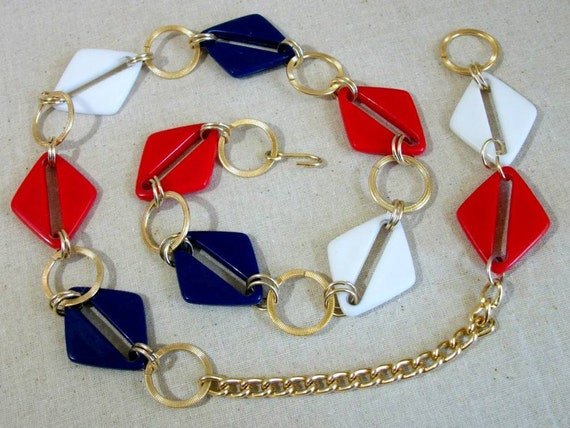 Mod Belt in Red White and Blue - Vintage 60s 70s