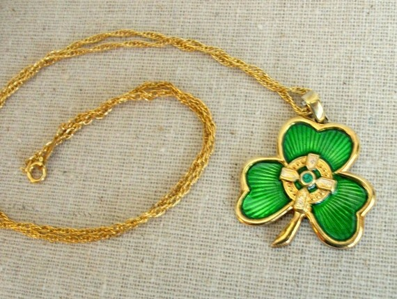 Shamrock Necklace - Sterling Silver Irish Blessing