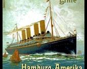 Hamburg America Ocean Liner Refrigerator Magnet -  FREE US SHIPPING