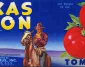 Texas Moon Cowboy Tomato Crate Label