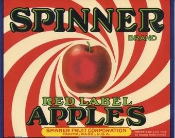 SPINNER  Red Apple Fruit Crate Label  -  psychedelic deco