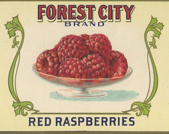 FOREST CITY Red Raspberries can label, deco Omaha
