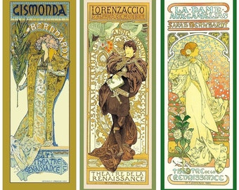 Three Large Mucha Art Deco Designs Refrigerator Magnets