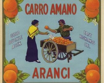 Carro Amano Orange Crate label