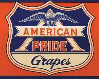 American Pride Grapes crate label