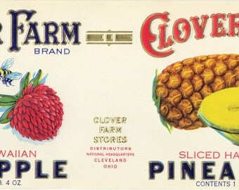 Clover Farm sliced Hawaiian Pineapple can label Ohio