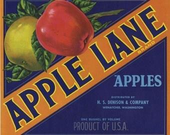 Apple Lane Fruit Crate Label Wenatchee Washington