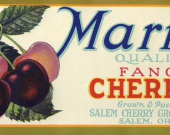 Marion Fancy Cherries Crate Label Oregon