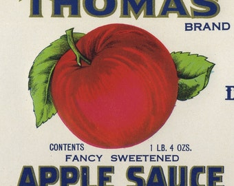 Vintage Thomas Apple Sauce can label