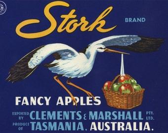 Stork Bird Apple fruit crate label Australia