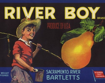 Sacramento River Boy Fishing Fruit Crate Label
