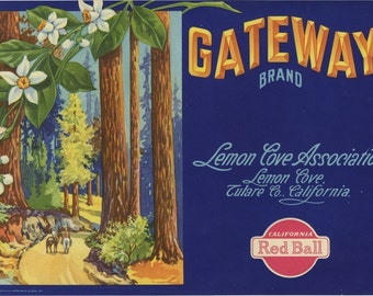 Redwood Trees Lemon Flowers Crate Label