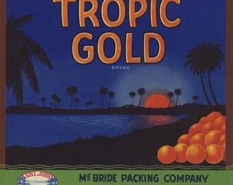 Tropic Gold Florida citrus crate label
