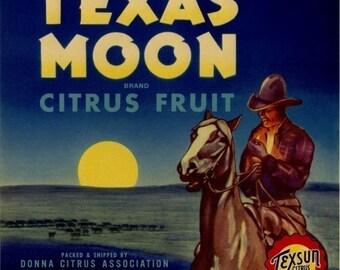 Texas Citrus Fruit Crate Label Cowboy Horse