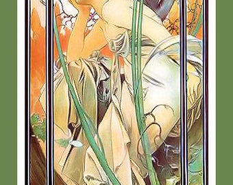 Art Nouveau woman in the reeds Large Refrigerator Magnet